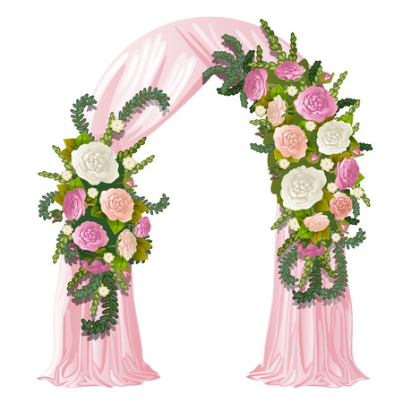 Wedding arch decorated with pink curtain and flower buds. Vector illustration.  イラスト・ベクター素材