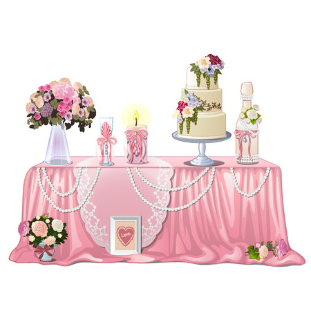 Decorated table with wedding paraphernalia isolated on white background. Vector cartoon close-up illustration.