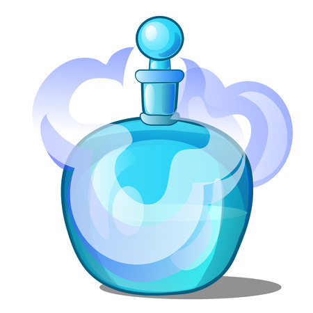 Glass bottle with scented liquid. Vector illustration. Ilustrace