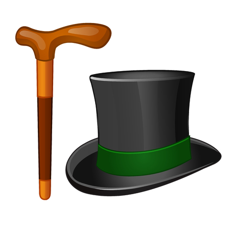 Classic accessories gentleman. Cylinder hat and walking stick isolated on white background. Vector illustration.