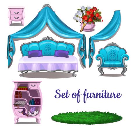 Vintage interior. Antique furniture isolated on white background. Vector cartoon close-up illustration. Illustration