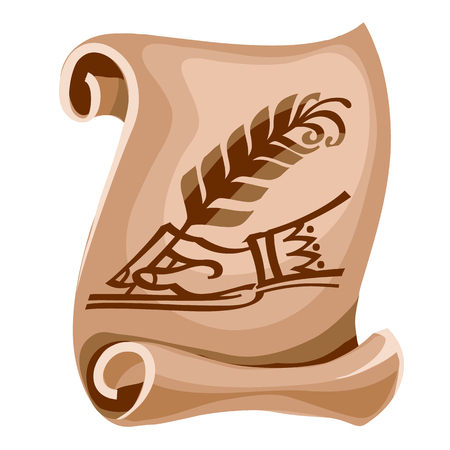 A scroll of sheet of old paper with the image of the manuscript. Vector illustration.