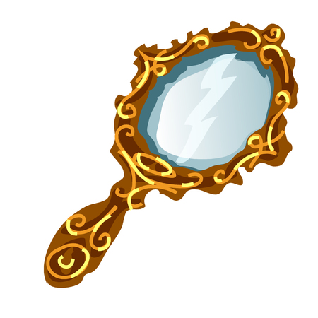 Vintage mirror in a gold frame with handle isolated on a white background. Vector illustration.
