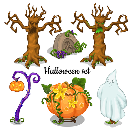Set of elements for greeting cards, posters, party invitations Halloween. Vector illustration.