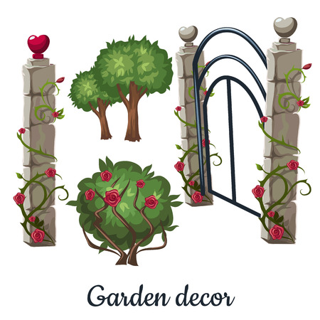 Stone gate overgrown with roses. Garden decor. Vector illustration.