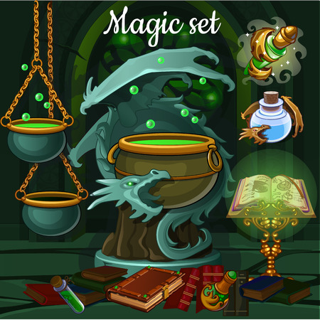 The set of objects for witchcraft and spiritualistic seances. A poster on the theme of the holiday of evil spirit Halloween. Vector cartoon close-up illustration.