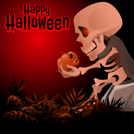 Human skeleton in a grey cloak sitting on a rock and talking to a pumpkin. Sketch for a postcard or poster for the holiday Halloween. Vector illustration.