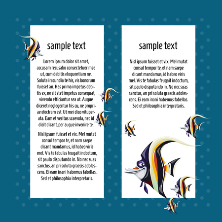 Sketch card with space for text and fish zanclus cornutus. A sample of the poster, invitation or other cards. Vector illustration. Ilustrace