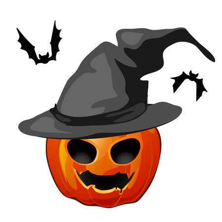 Pumpkin in a witch hat and bats isolated on white background. The attributes of the holiday Halloween. Vector illustration.