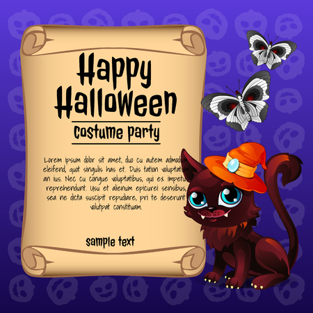 Poster on theme of the Halloween holiday. Sketch with space for text on old paper sheet. Vector illustration. Ilustração