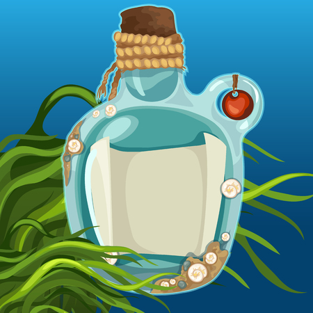 Blue bottles closed with cork on the seabed. Message in a bottle with space for your text. Vector illustration.