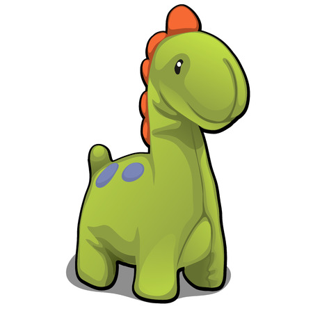 Plush toy in the form of green dinosaur isolated on white background. Vector cartoon close-up illustration. Illustration
