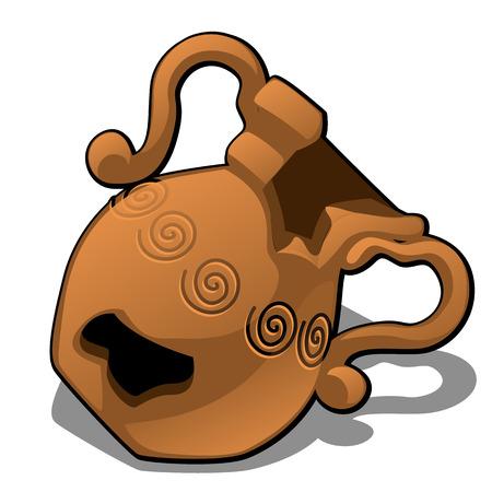 白い背景に隔離された古い壊れた粘土鍋。ベクター漫画のクローズアップイラスト。 写真素材 - 102161368