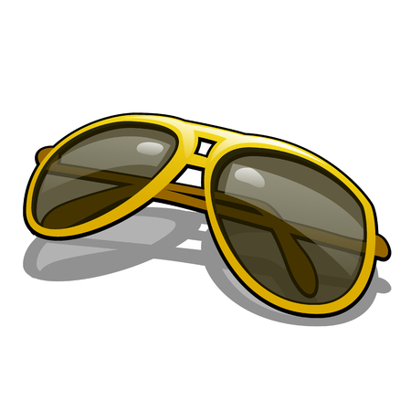 Stylish sunglasses with polarized yellow glasses for driving isolated on white background. Vector cartoon illustration close-up. Illustration