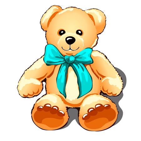 Teddy bear with a turquoise bow isolated on white background. Vector illustration. Ilustracja