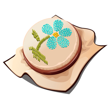 Hoops for embroidery with the image of a flower. Vector illustration. Vettoriali