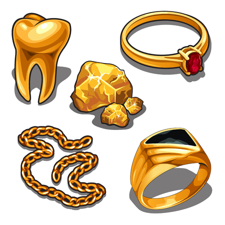 A set of jewelry and dentistry objects made of gold isolated on a white background. Vector illustration.