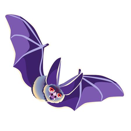 Funny bat isolated on white background. Vector cartoon close-up illustration. Illustration