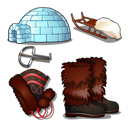 The set of items of culture and life of the people of the far North and of the Inuit, isolated on white background. Jaw harp, igloo, sleigh, boots, hat. Vector illustration. Illustration