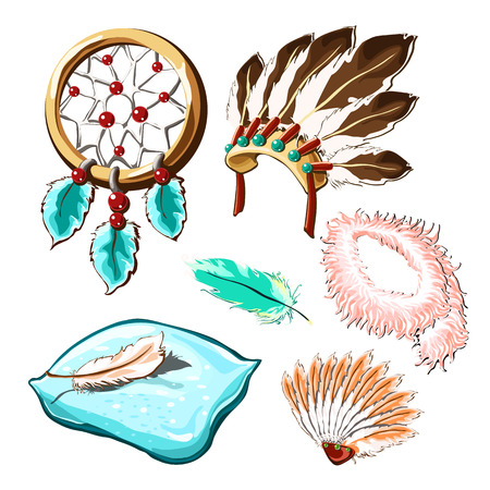 The set of objects of ancient culture and modern life with bird feathers isolated on white background. Vector illustration.