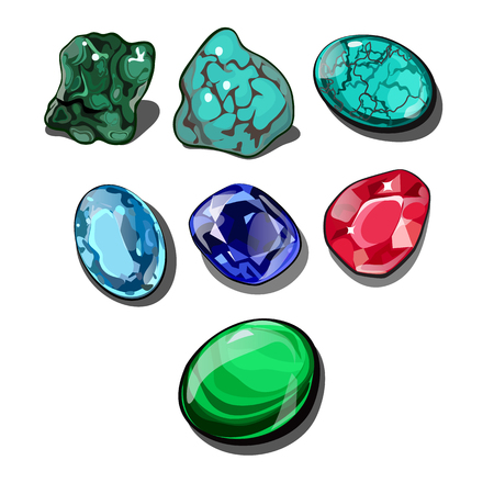 Set of precious stones isolated on white background. Vector cartoon close-up illustration. Иллюстрация