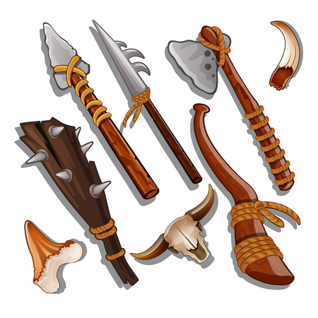 Set ancient of hunting and military weapons isolated on white background. Vector illustration. Stock Illustratie