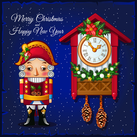 Template Christmas greeting card with Nutcracker and vintage cuckoo clocks on a blue background. Vector illustration.