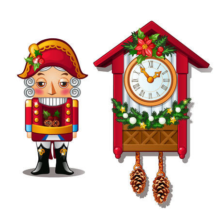 The Nutcracker and the antique cuckoo clock isolated on a white background. Vector illustration.