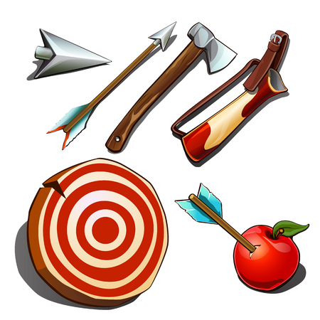 Set of subjects for competitions on accuracy isolated on white background. Vector cartoon close-up illustration.  イラスト・ベクター素材