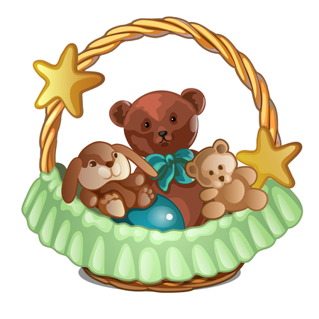 Set of plush bears and a rabbit in wicker basket isolated on white background. Sketch for greeting card, festive poster or party invitations. Vector illustration. Иллюстрация