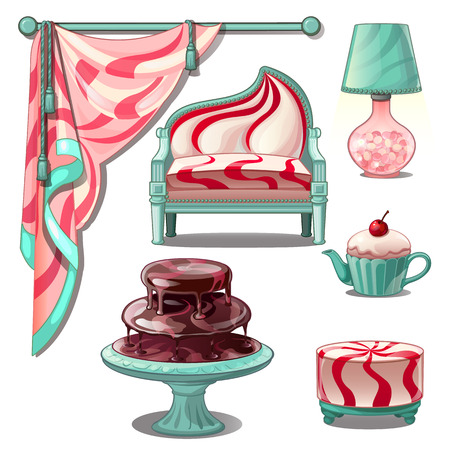 Interior and bright furniture in style sweets and confectionery. Vector illustration.