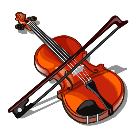 Violin and bow isolated on a white background. Vector.