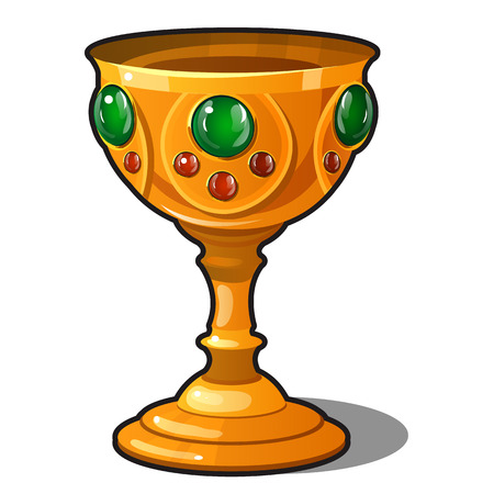 Golden goblet encrusted with precious stones isolated on a white background. Vector illustration.