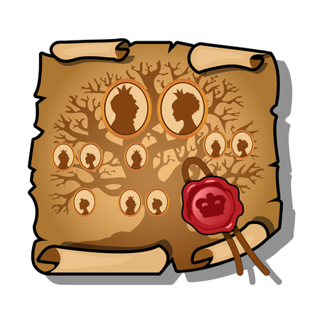The Royal bloodline is depicted on a sheet of paper and sealed with wax. Vintage document isolated on white background. Vector illustration. Archivio Fotografico - 103257597