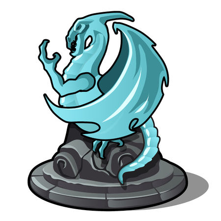 Figurine of dragon turquoise color isolated on white background. Vector illustration. Ilustração