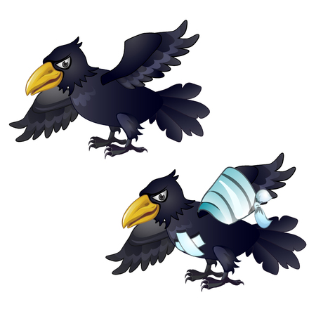 Healthy and diseased crow isolated on white background. Vector cartoon close-up illustration.