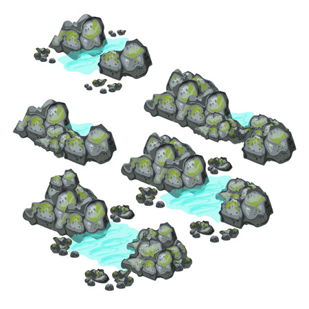 A set of grey boulders covered with silt isolated on white background. Vector illustration.