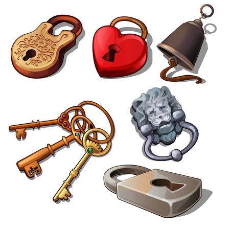 Set of vintage padlocks and keys isolated on a white background. Cartoon vector close-up illustration.