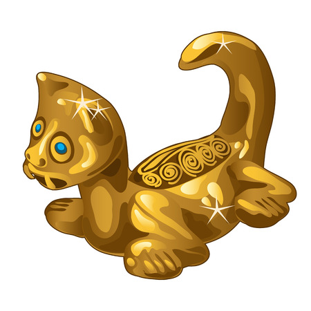 Golden ethnic figurine cat isolated on white background. Vector illustration.