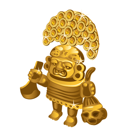 Inca indian ritual figurine from gold, a symbol of sacrifice is isolated on a white background. Vector illustration.  イラスト・ベクター素材