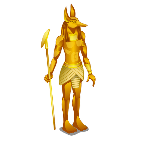 Golden statue ancient Egypt isolated on white background. Vector cartoon close-up illustration. Illustration