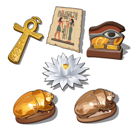A set of sacred symbols and artifacts of ancient Egypt isolated on a white background. Vector illustration. Illustration