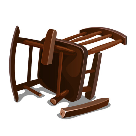A broken old wooden rocking chair isolated on white background. Vector cartoon close-up illustration.