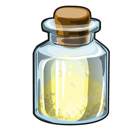 Transparent glass jar with cork with yellow crystalline substance isolated on white background. Vector cartoon close-up illustration.