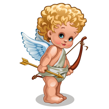 A little baby angel of love isolated on white background. Vector cartoon close-up illustration.
