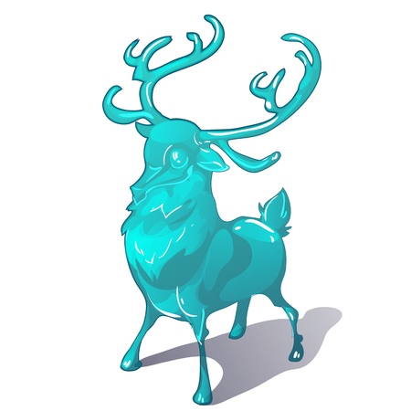 Ice figurine of a deer isolated on a white background. The symbol of new year and Christmas. Vector cartoon close-up illustration.  イラスト・ベクター素材