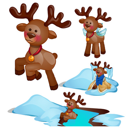 Adventure set Christmas deer isolated on white background. Vector cartoon close-up illustration.