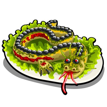 Beautifully decorated salad in the form of a dragon. The restaurants signature dish isolated on a white background. Vector cartoon close-up illustration.