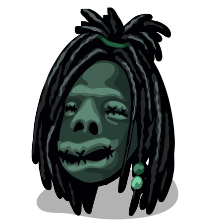 A shrunken head isolated on white background. Talisman tribe of Indians. Vector illustration. Vettoriali