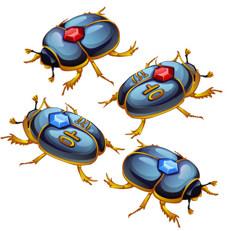 A set of figures of beetles scarabs with Golden feet and encrusted with precious stones isolated on a white background. Vector illustration.